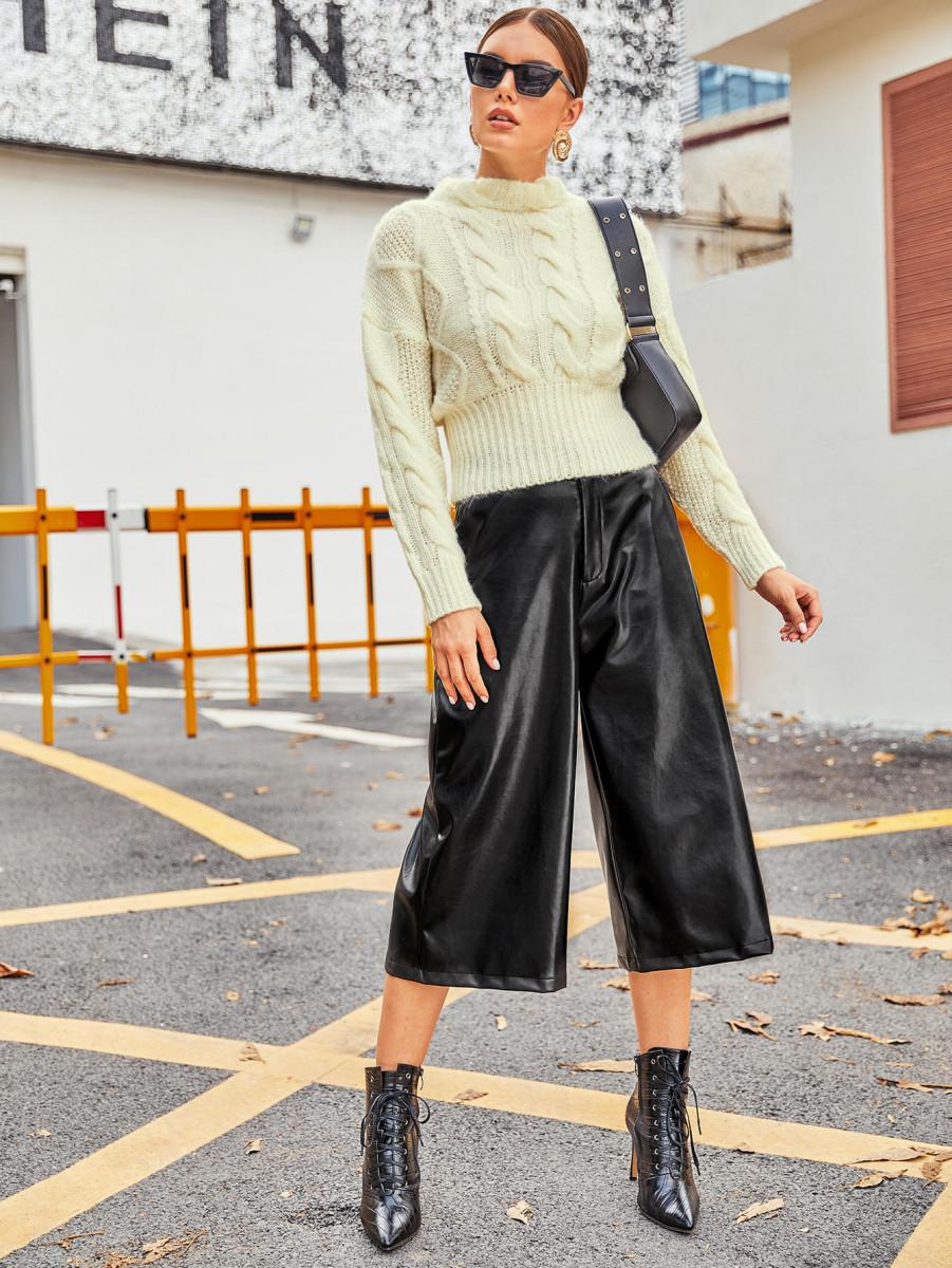 Slant Pocket Wide Leg Leather Look Capris Pants