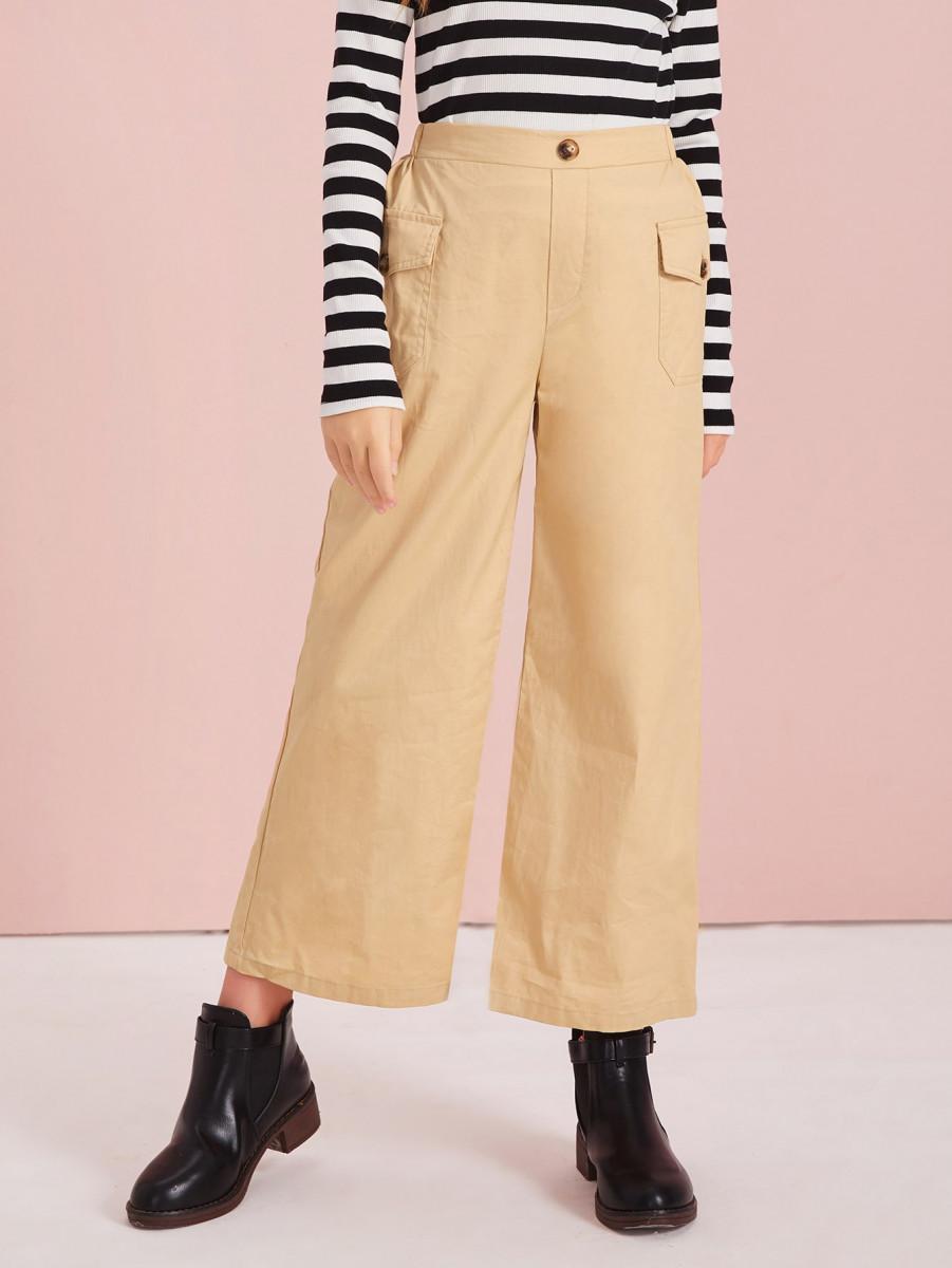 Girls Flap Pocket Front Wide Leg Pants