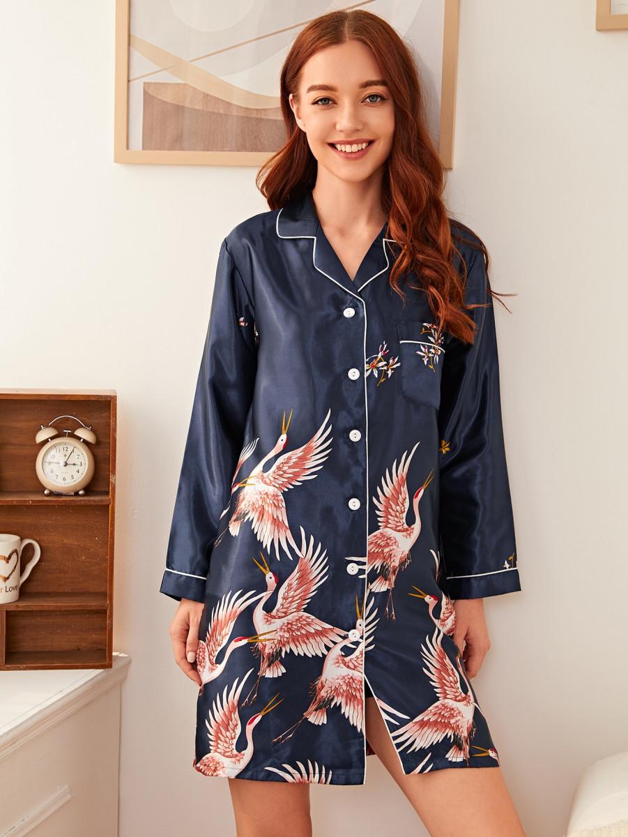 Crane Print Button Front Satin Night Dress