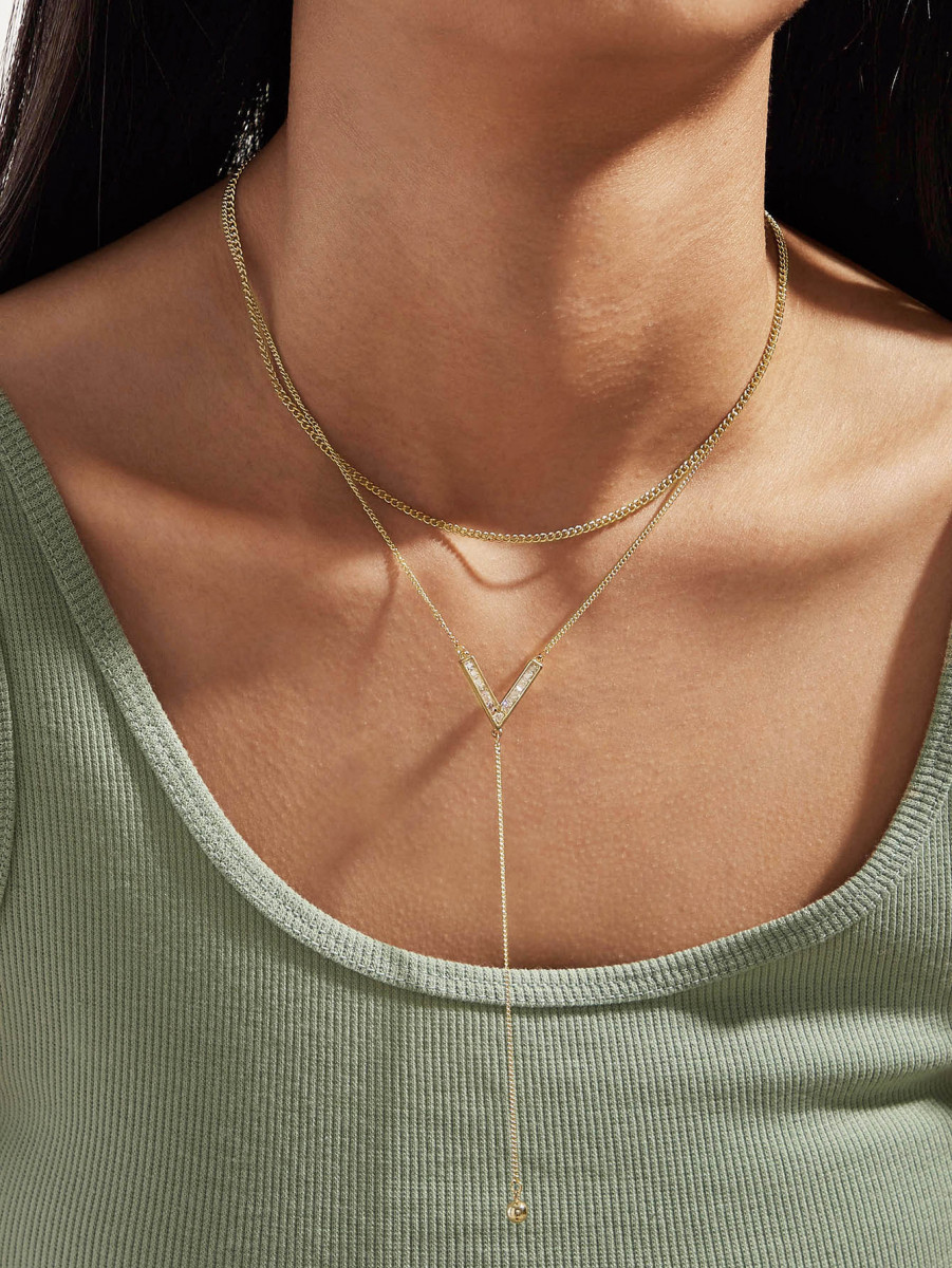 1pc Rhinestone Decor Layered Necklace