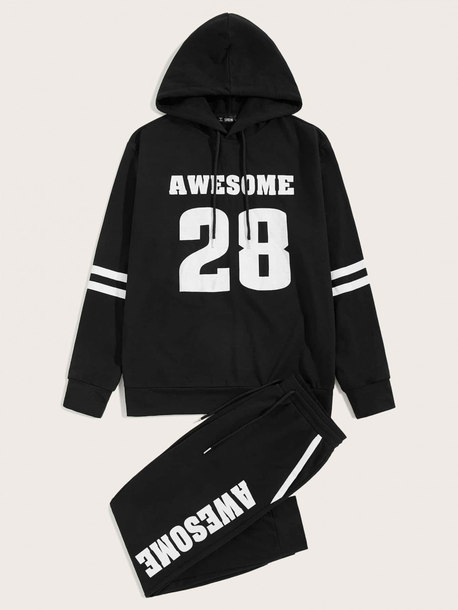 Men Letter & Striped Drawstring Hoodie & Sweatpants Set