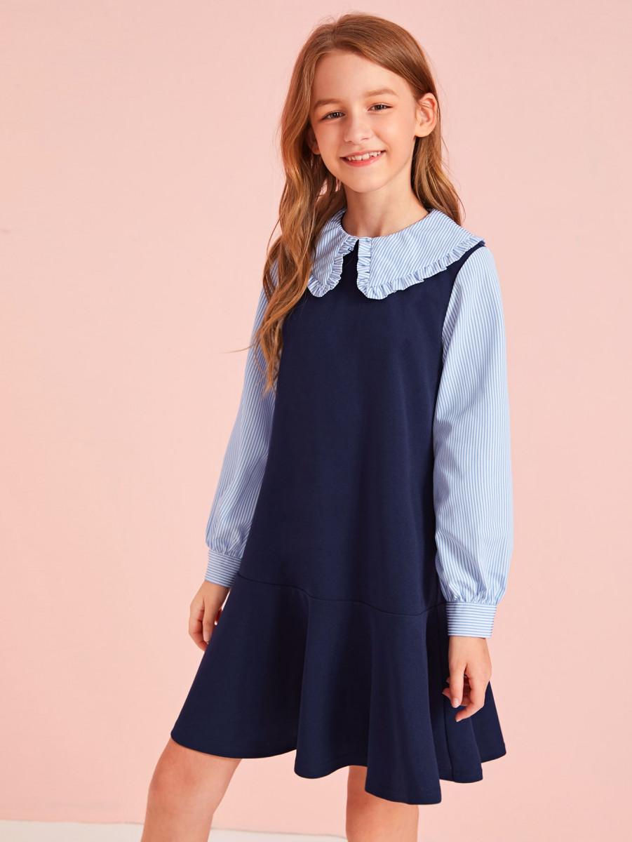 Girls Frill Trim Striped Colorblock Dress
