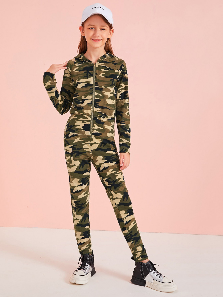 Girls Camo Print Zipper Front Hooded Jumpsuit