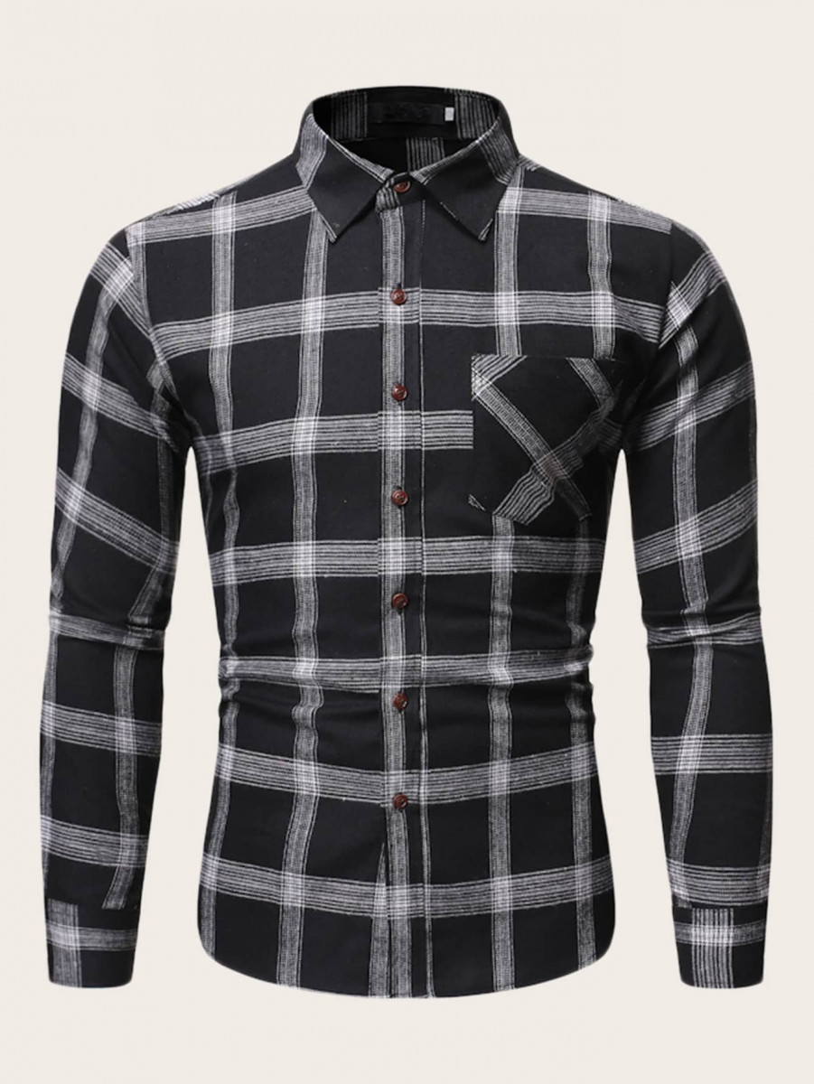 Men Pocket Front Plaid Shirt
