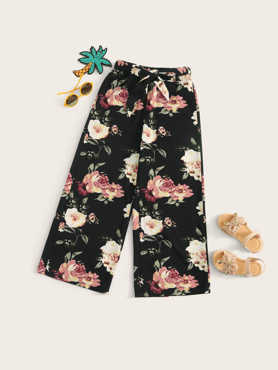 Girls Floral Print Belted Palazzo Pants