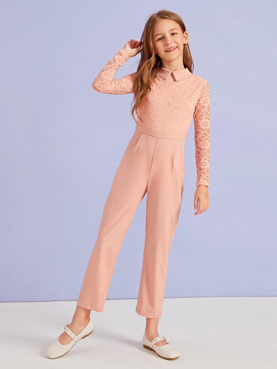 Girls Lace Overlay Bodice Pleated Detail Collared Jumpsuit