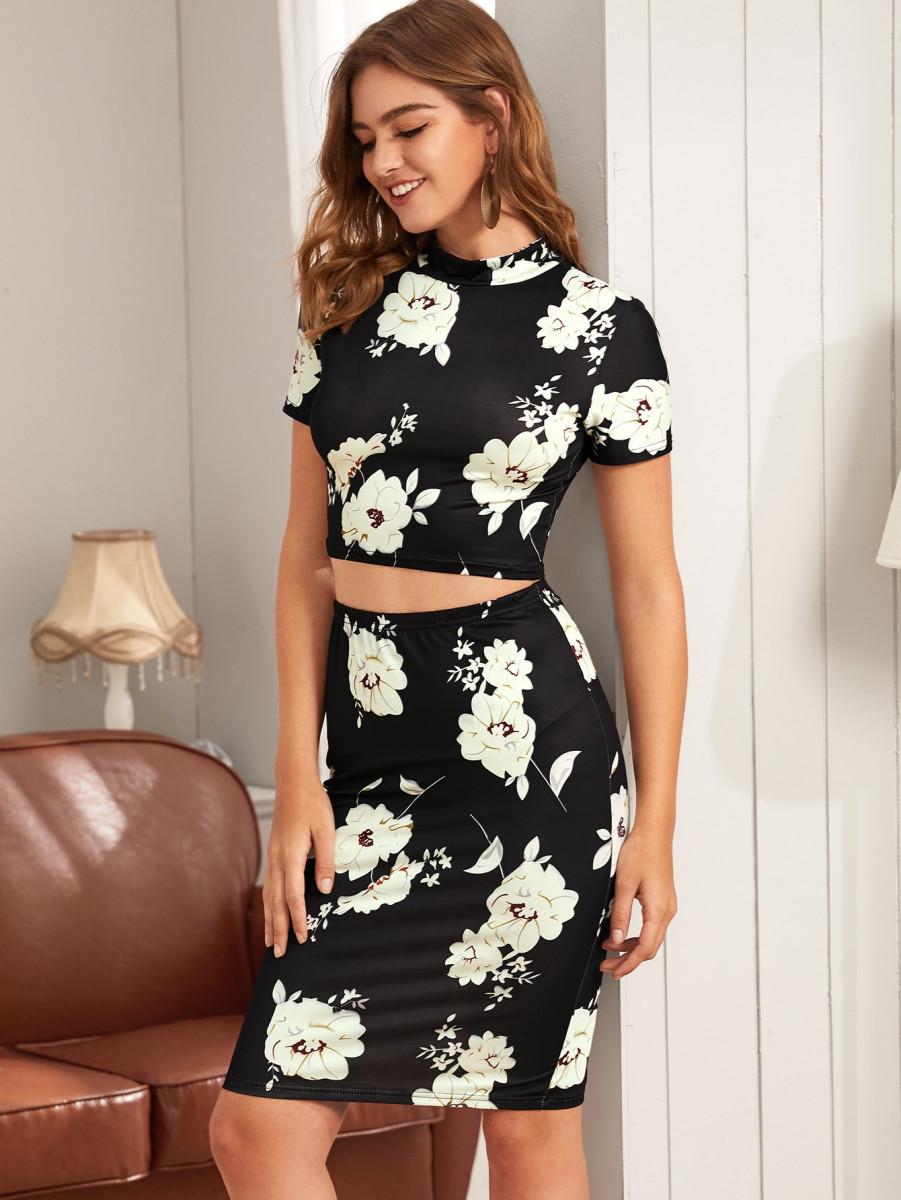Floral Print Mock Neck Tee & Skirt