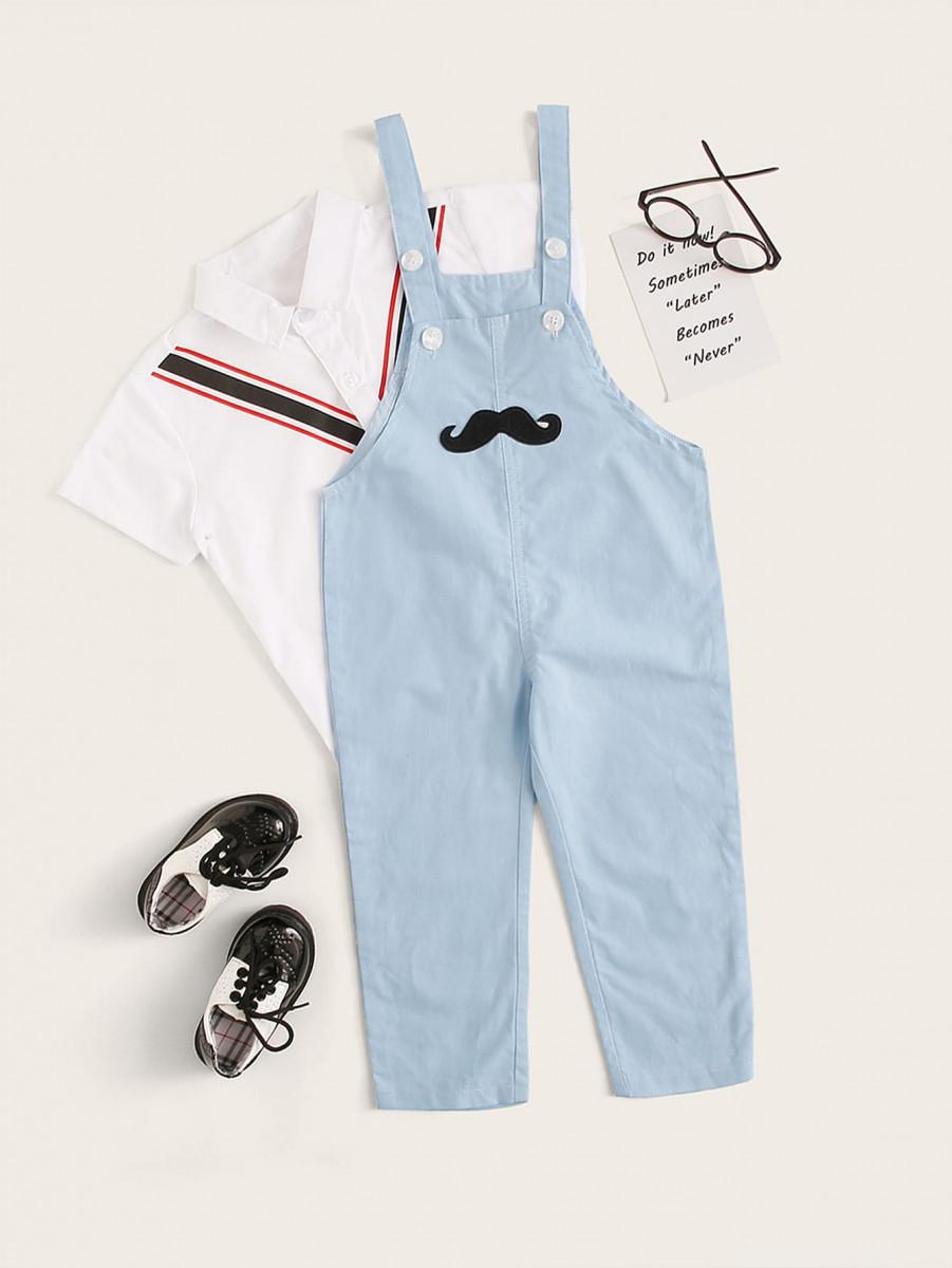Toddler Boys Mustache Print Overalls
