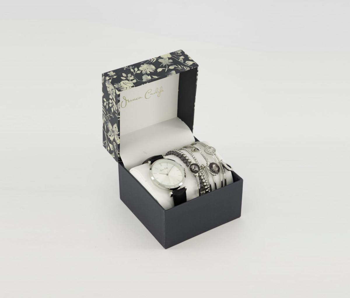 Jessica Carlyle Womens Analog Watch & Bracelet Set  Black/Silver