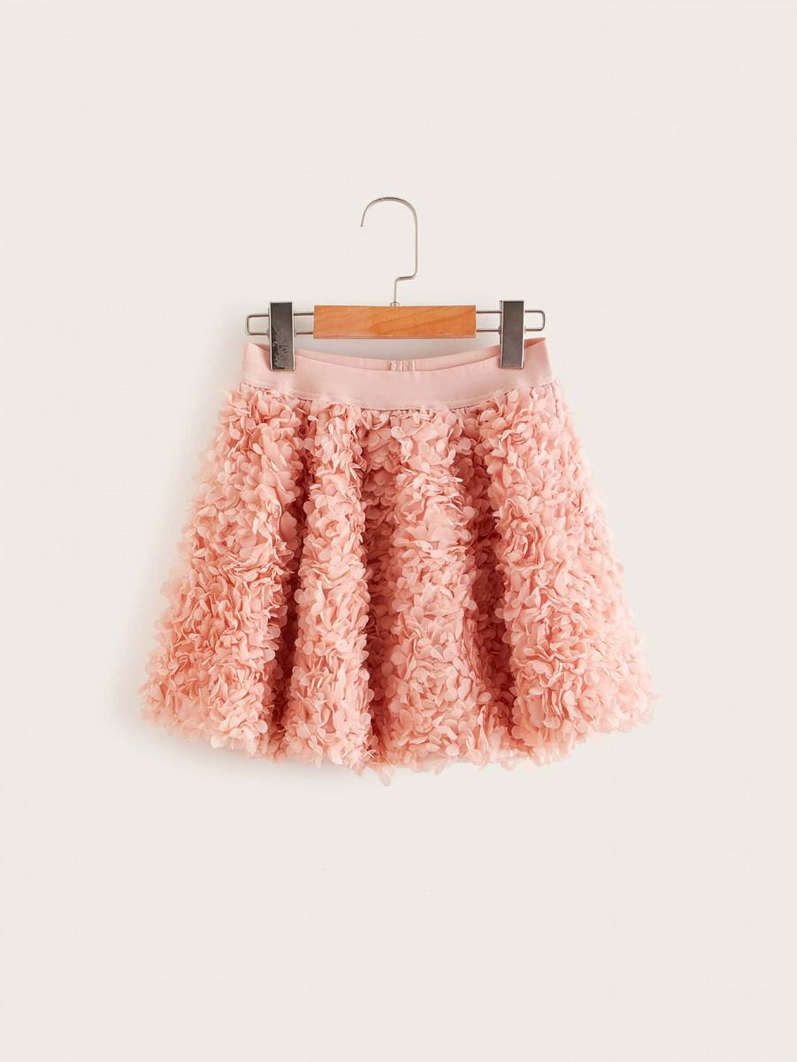 Girls 3D Applique Mesh Skirt