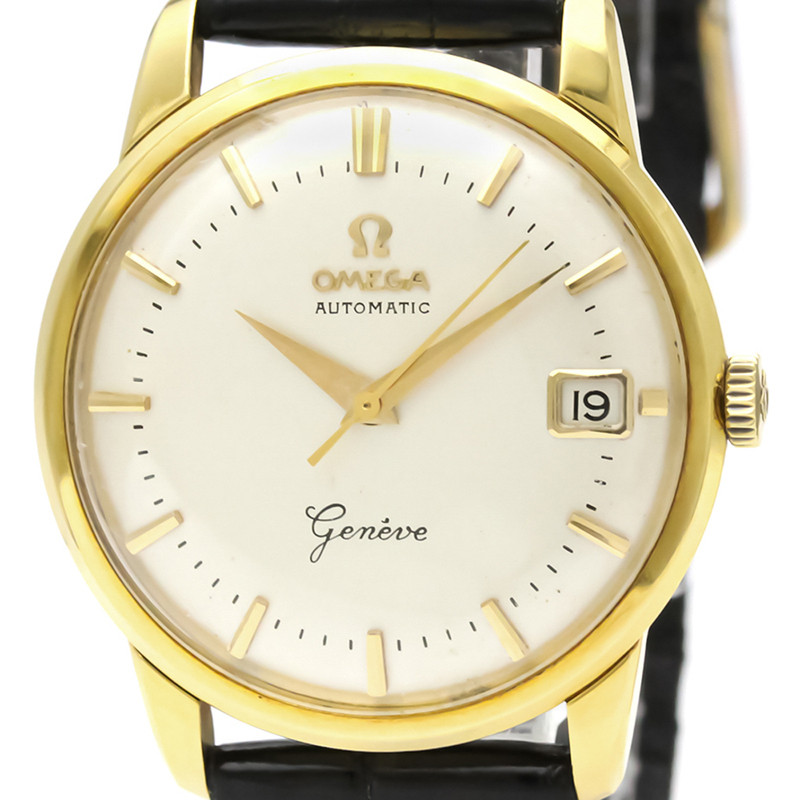 Omega White 18K Yellow Gold and Leather Geneve 14703 Men's Wristwatch 34MM
