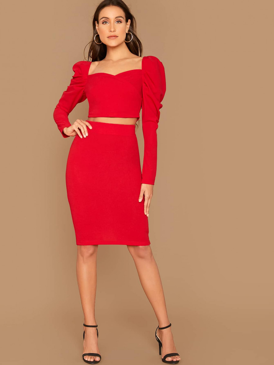 Sweetheart Gigot Sleeve Crop Top & Slit Hem Pencil Skirt Set