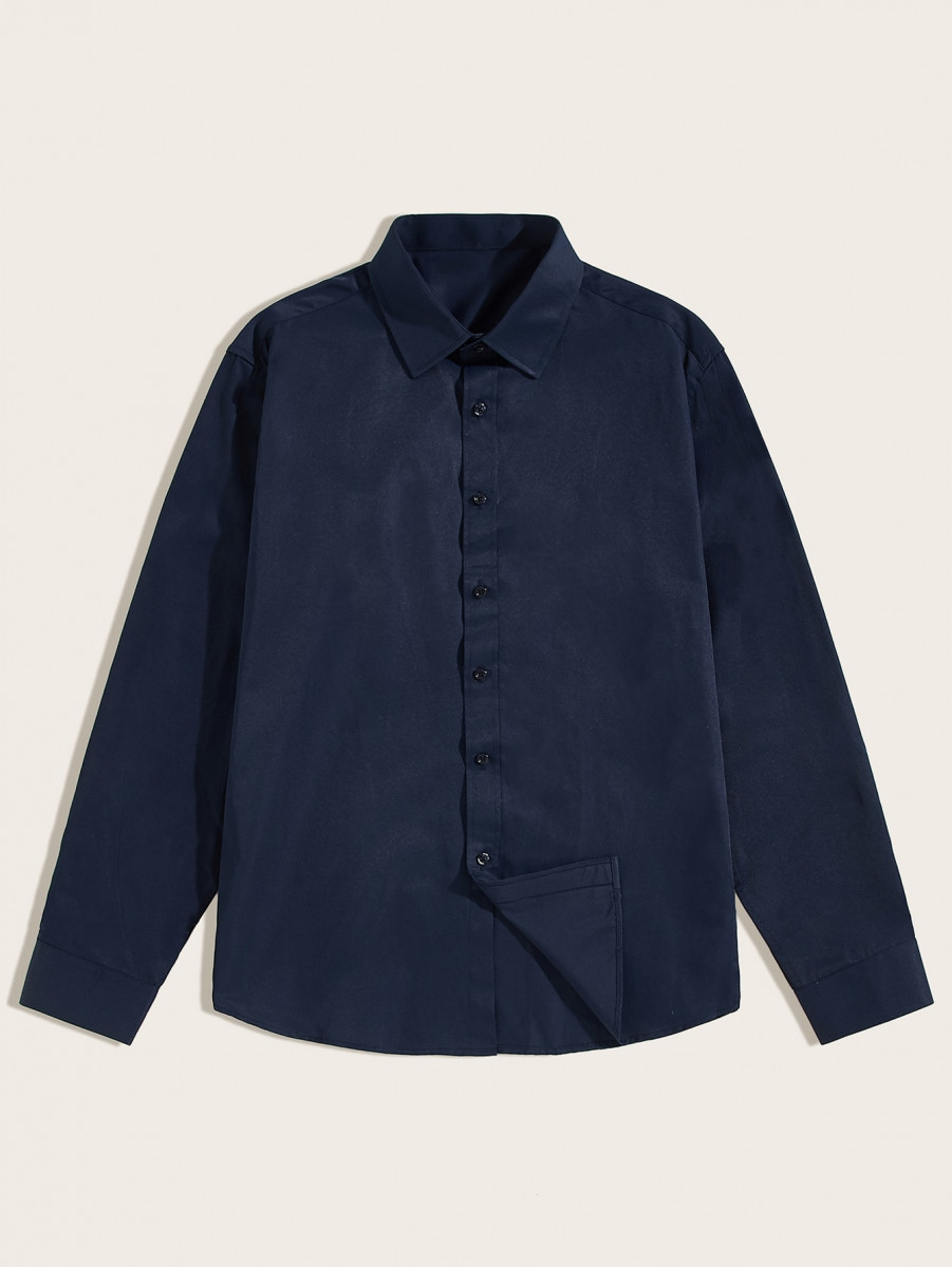 Men Single Breasted Solid Shirt