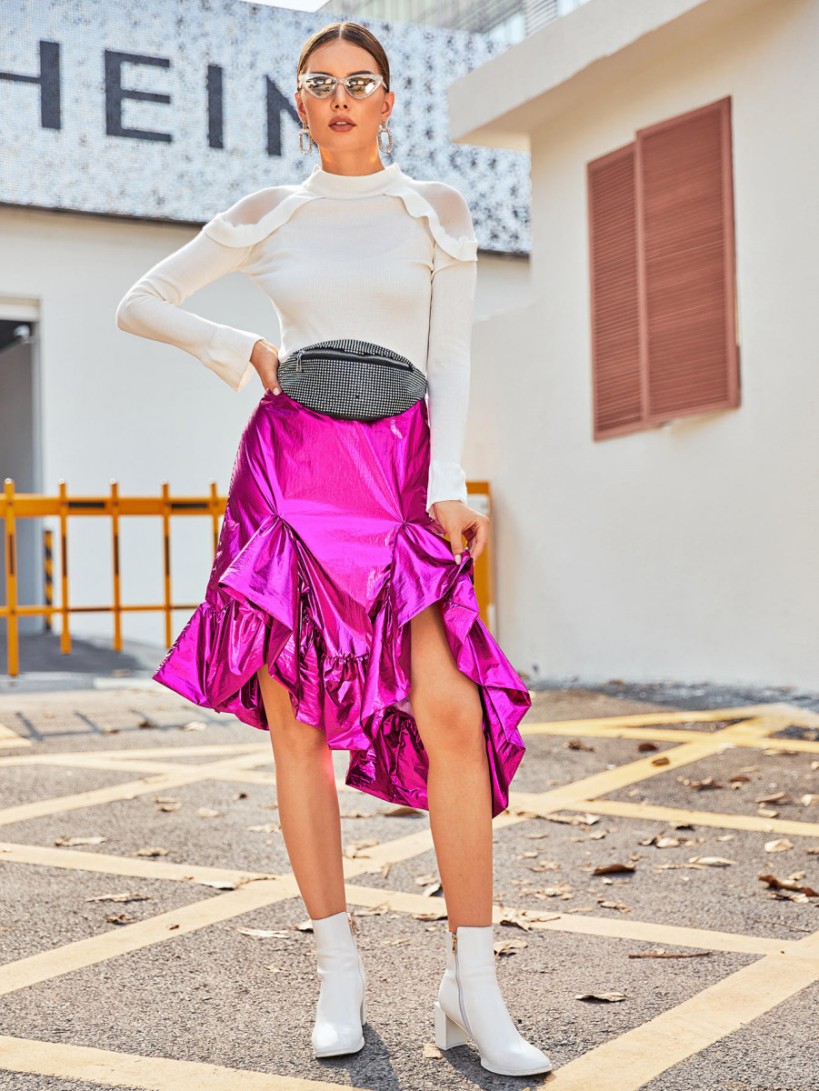 Neon Pink Asymmetrical Ruffle Hem Metallic Skirt
