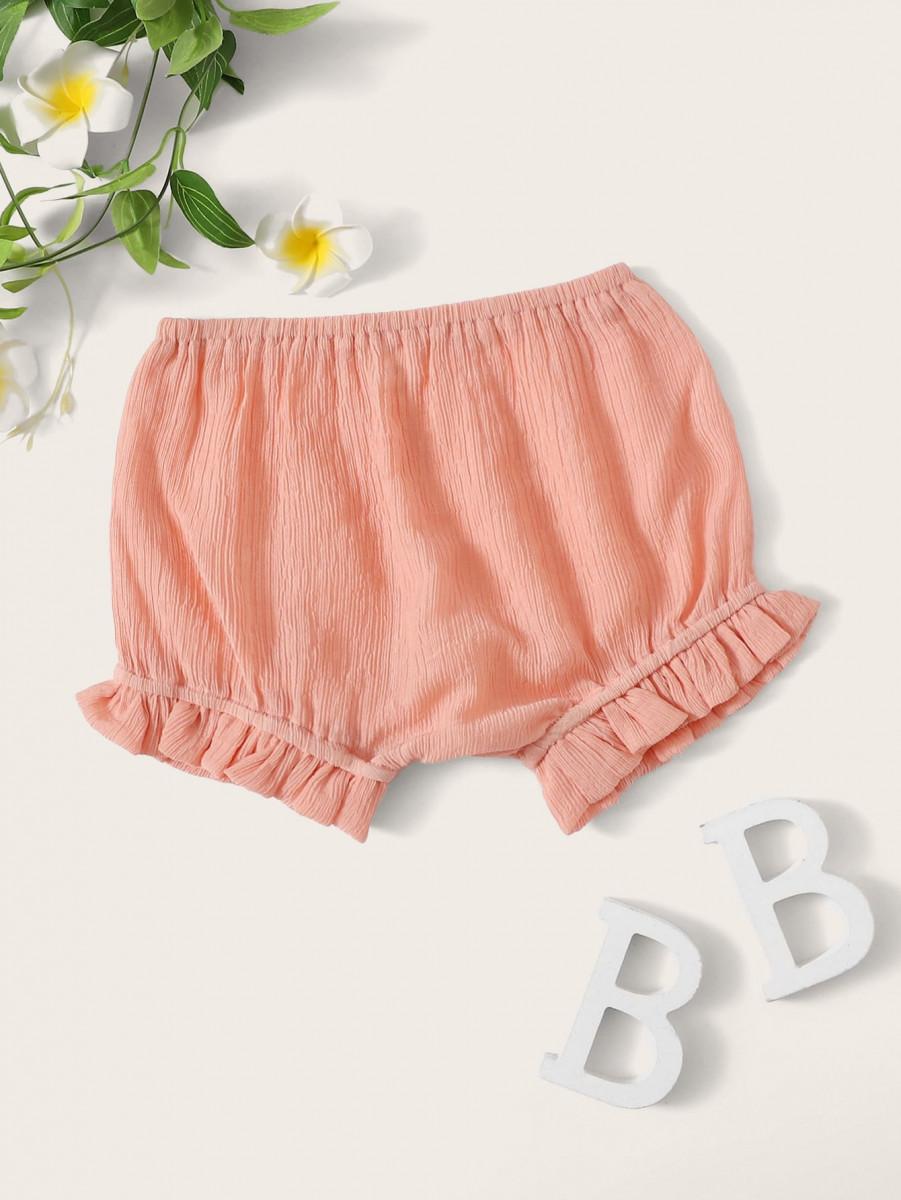 Toddler Girls Frill Hem Solid Shorts