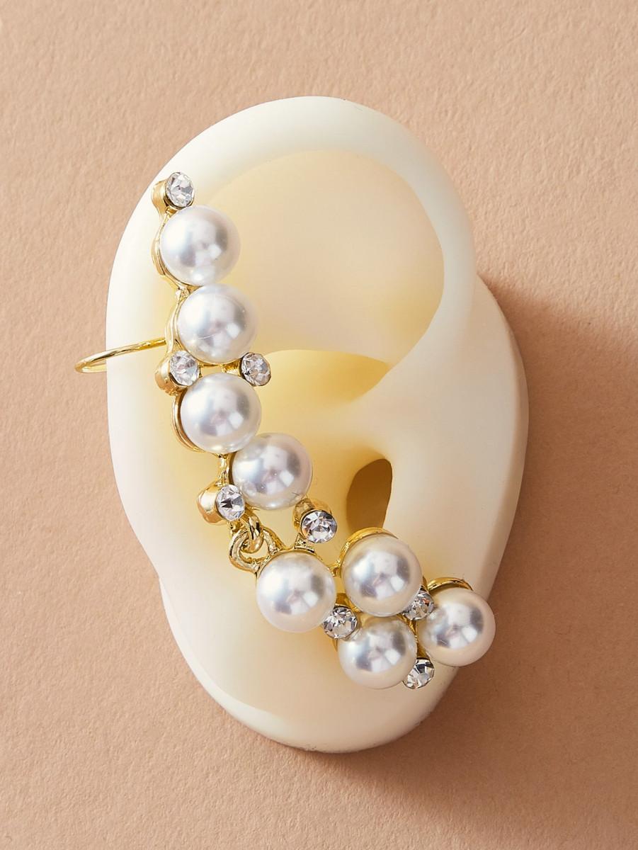 1pair Pearl & Rhinestone Engraved Earrings