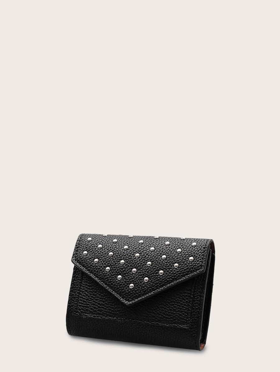 Studded Decor Fold Cover Wallet