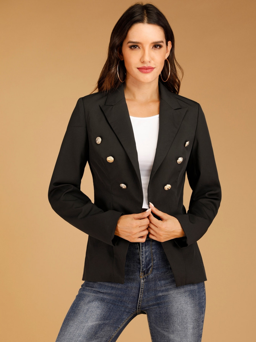 Lapel Collar Buttoned Front Blazer