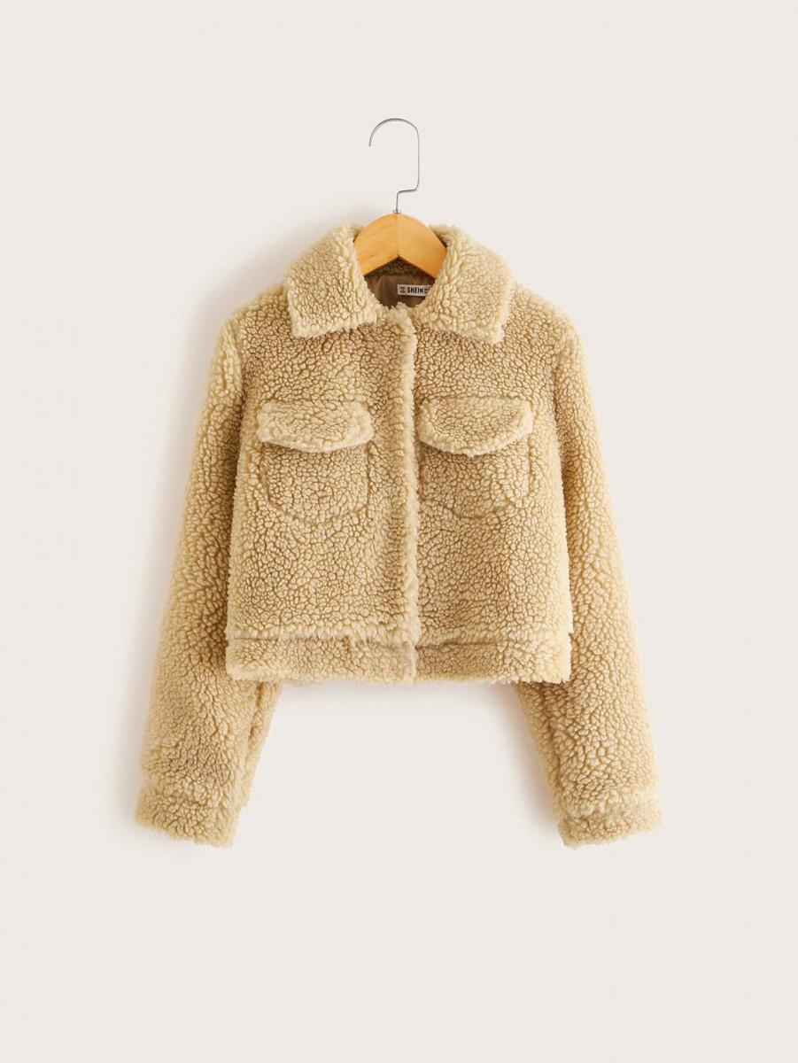 Girls Solid Teddy Jacket