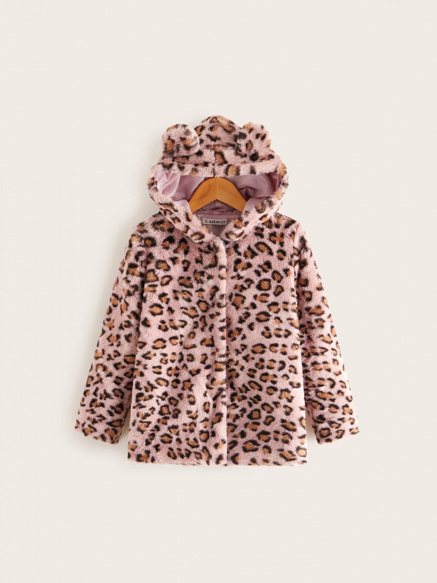 Girls Leopard Faux Fur Ear Hooded Coat