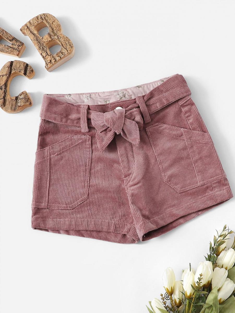 Toddler Girl Corduroy Pocket Belt Shorts
