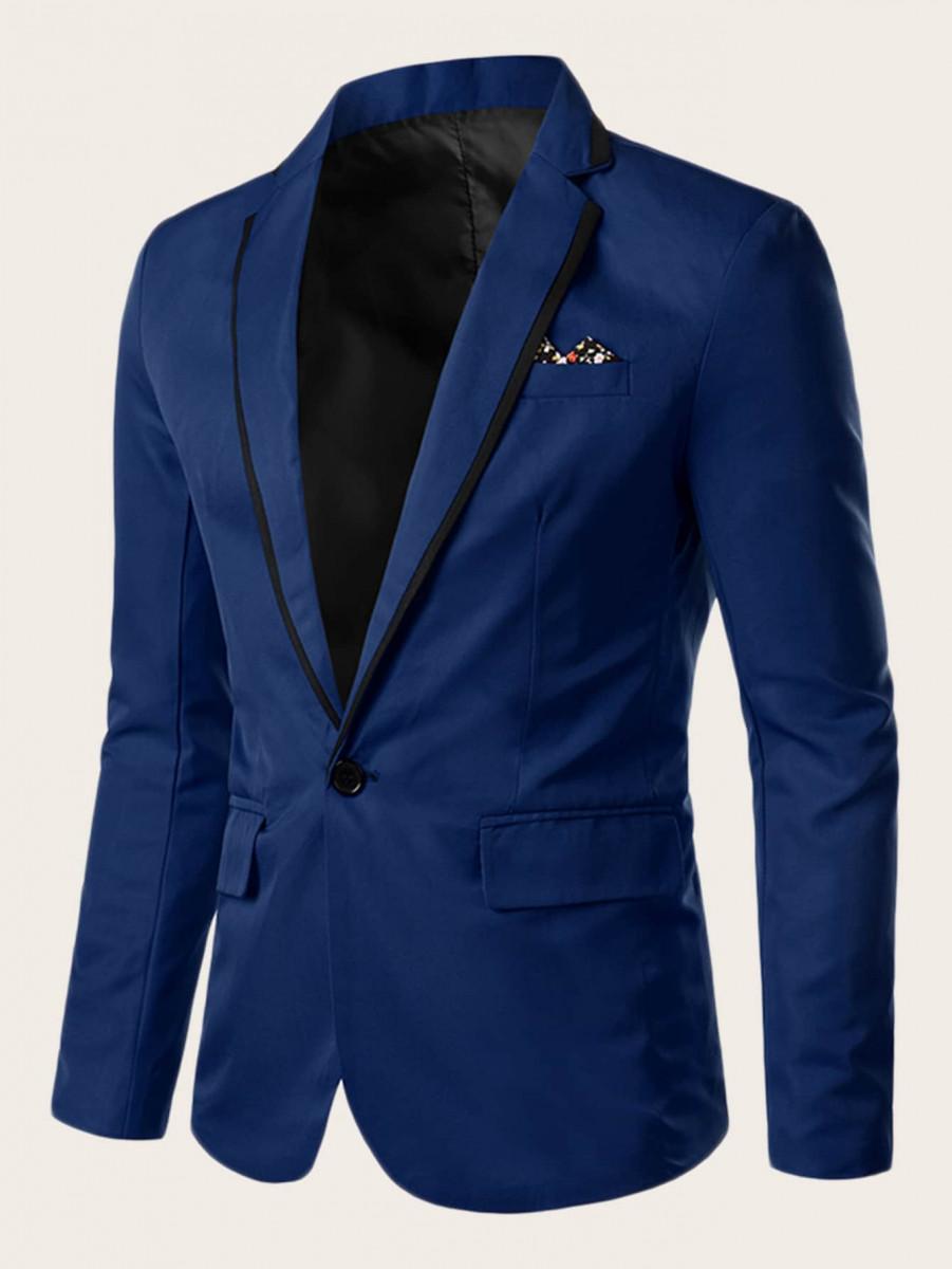 Men Contrast Ditsy Floral Single Button Blazer