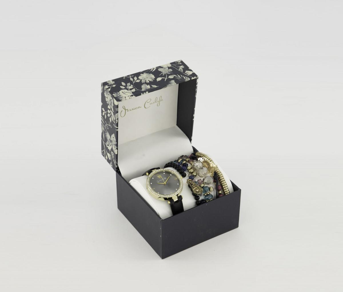 Jessica Carlyle Womens Analog Watch & Bracelet Set  Black/Gold