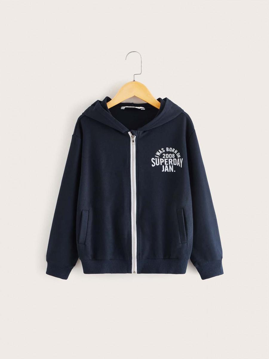 Boys Slogan Graphic Zip Up Hooded Sweatshirt