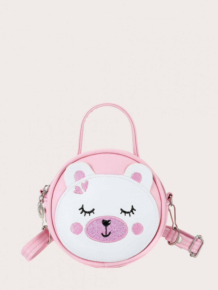 Girls Bear Embroidered Crossbody Bag