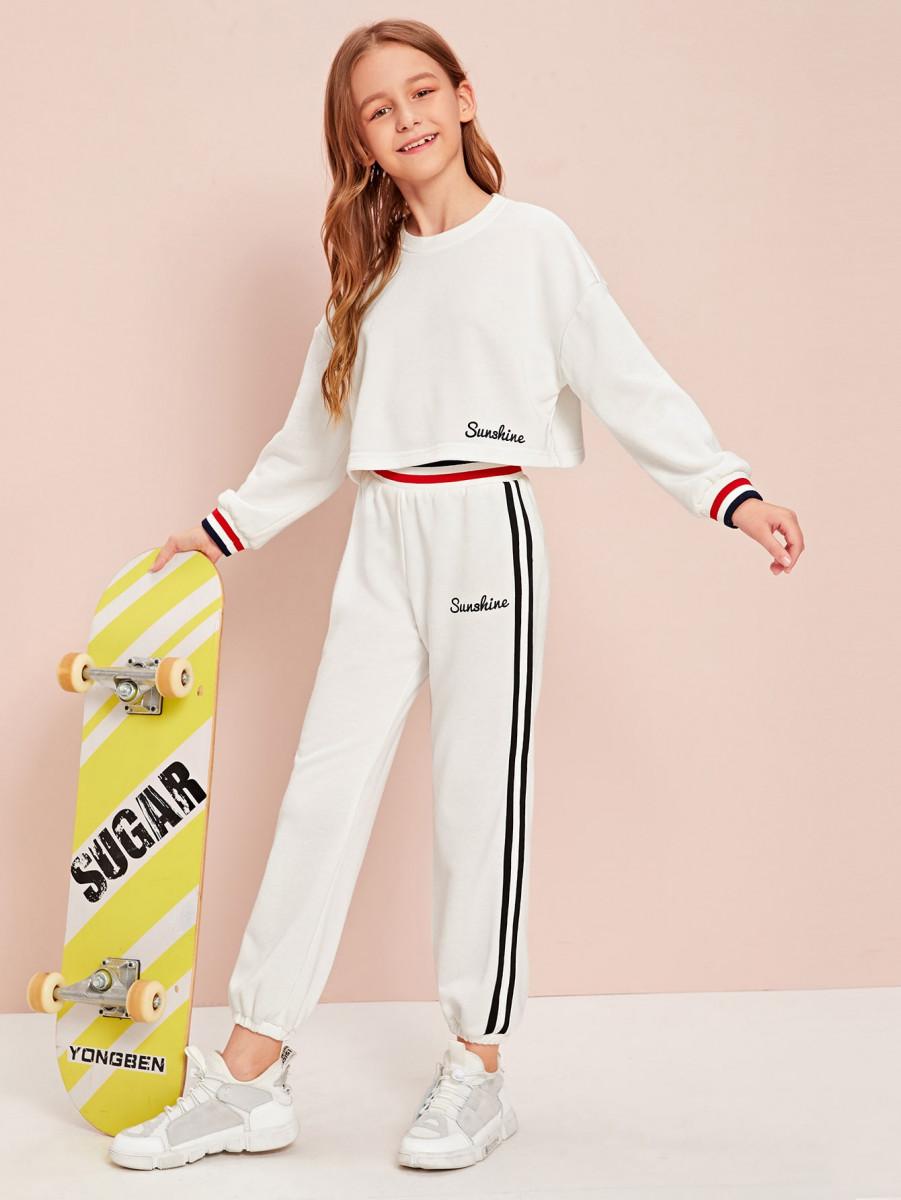 Girls Letter Striped Trim Pullover & Sweatpants Set