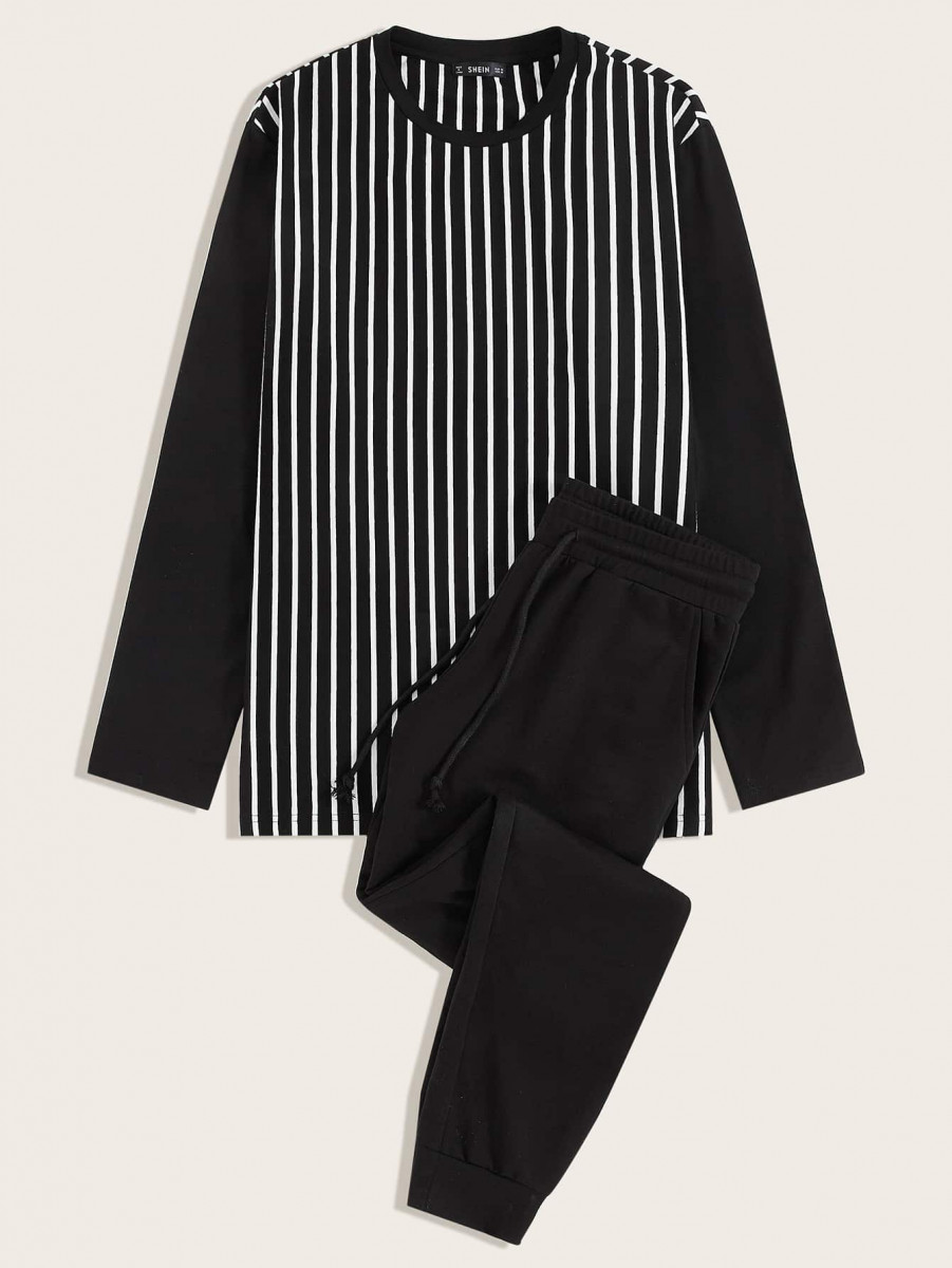 Men Striped Top and Drawstring Waist Slant Pocket Pants PJ Set