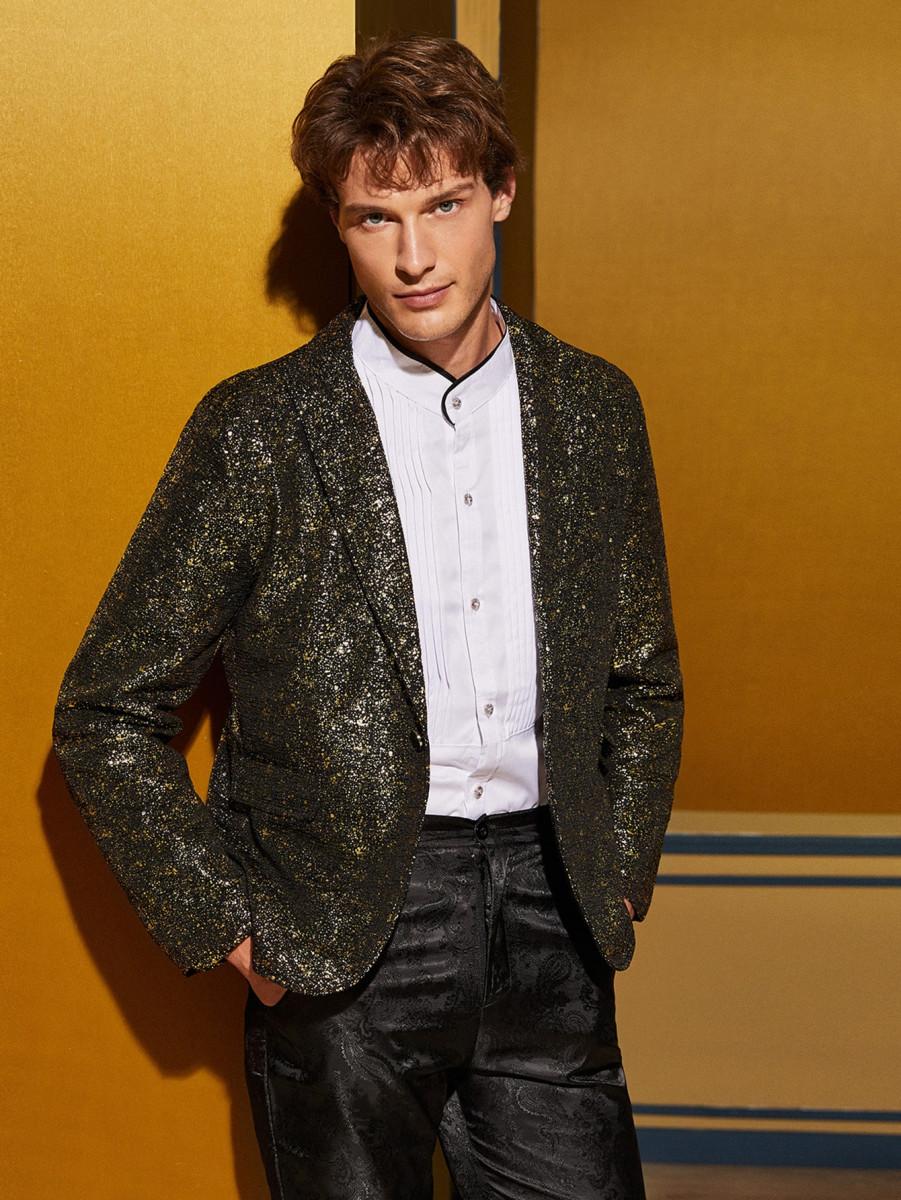 Men Single Button Sequin Overlay Tailored Blazer