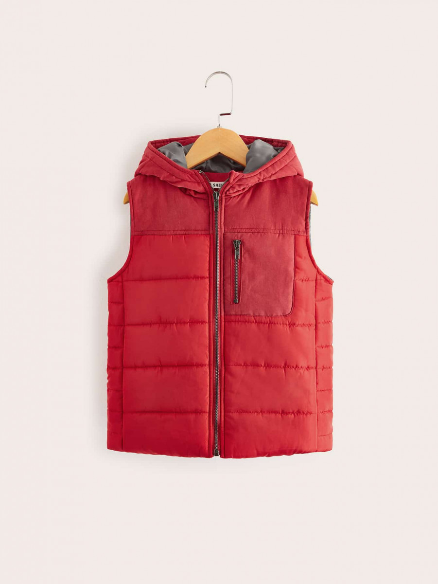 Boys Zip Front Padded Hooded Vest Jacket