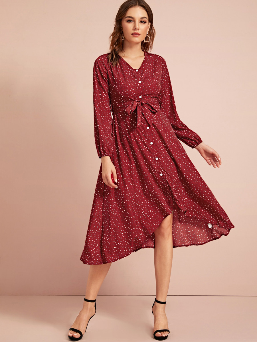 Confetti Print Button Through Belted Dress