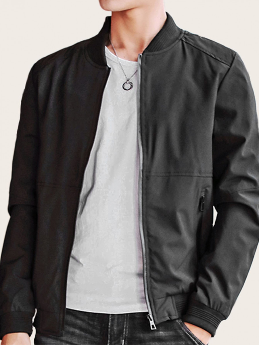 Men Zip Up Bomber Jacket