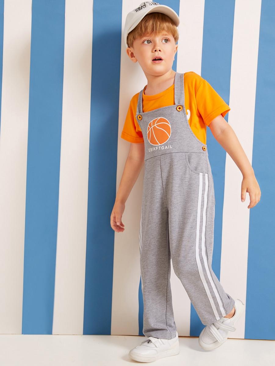 Toddler Boys Ball Print Side Stripe Overalls