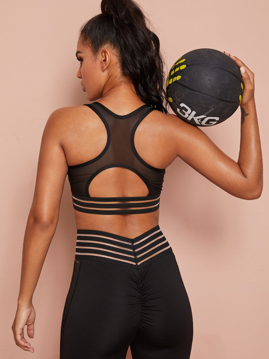 Contrast Mesh Cut Out Back Sports Bra