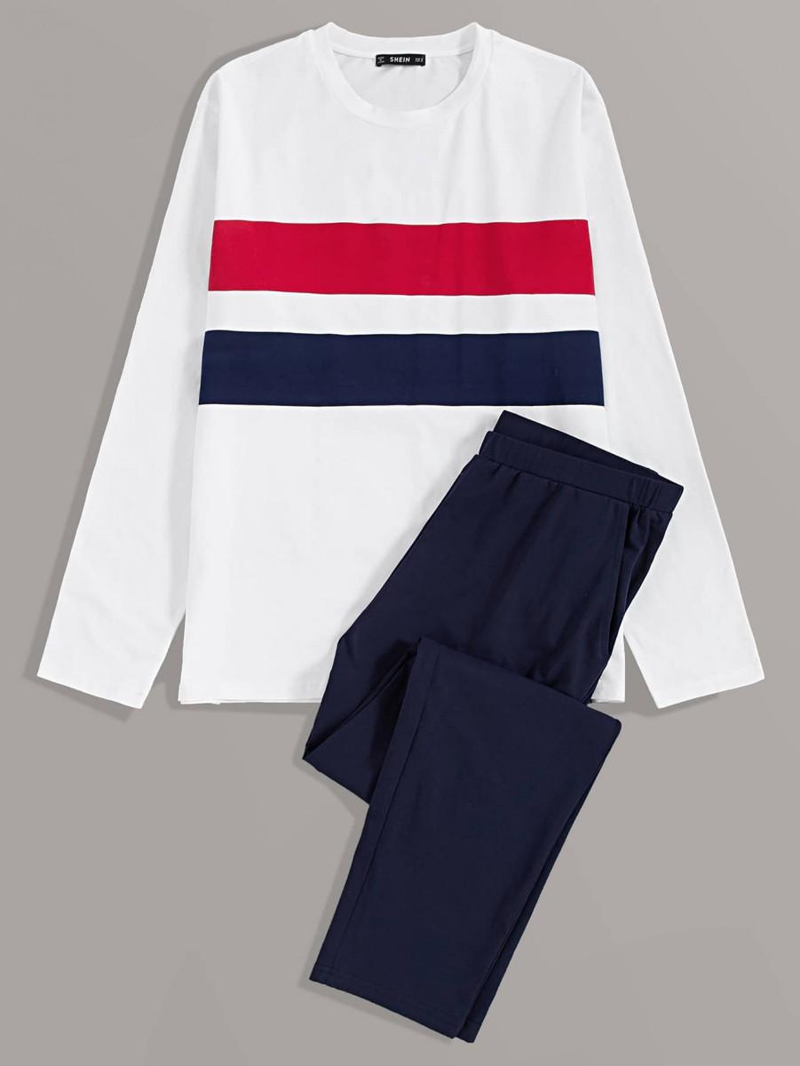 Men Striped Print Top & Pants PJ Set