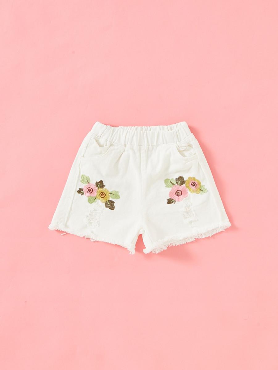 Girls Embroidery Raw Hem Shorts