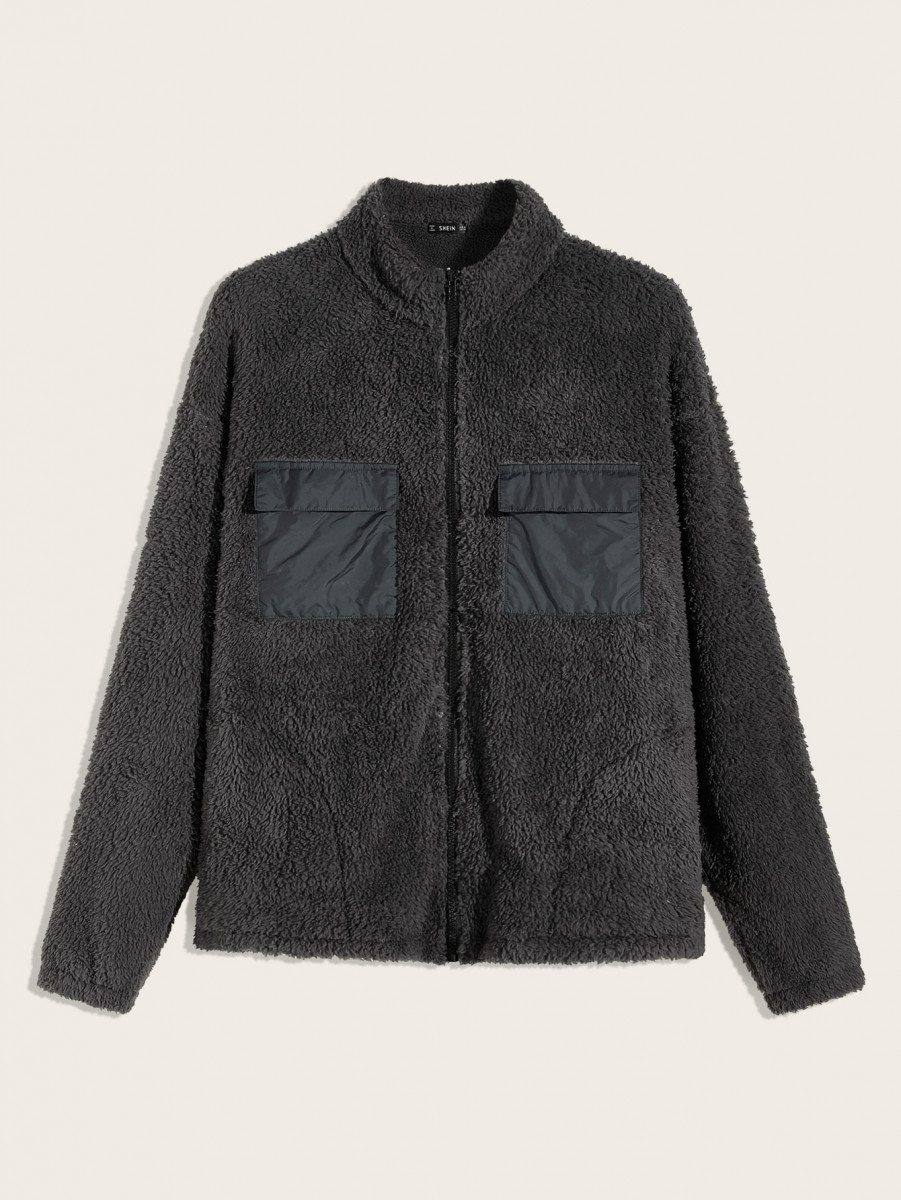 Men Flap Pocket Patched Teddy Jacket