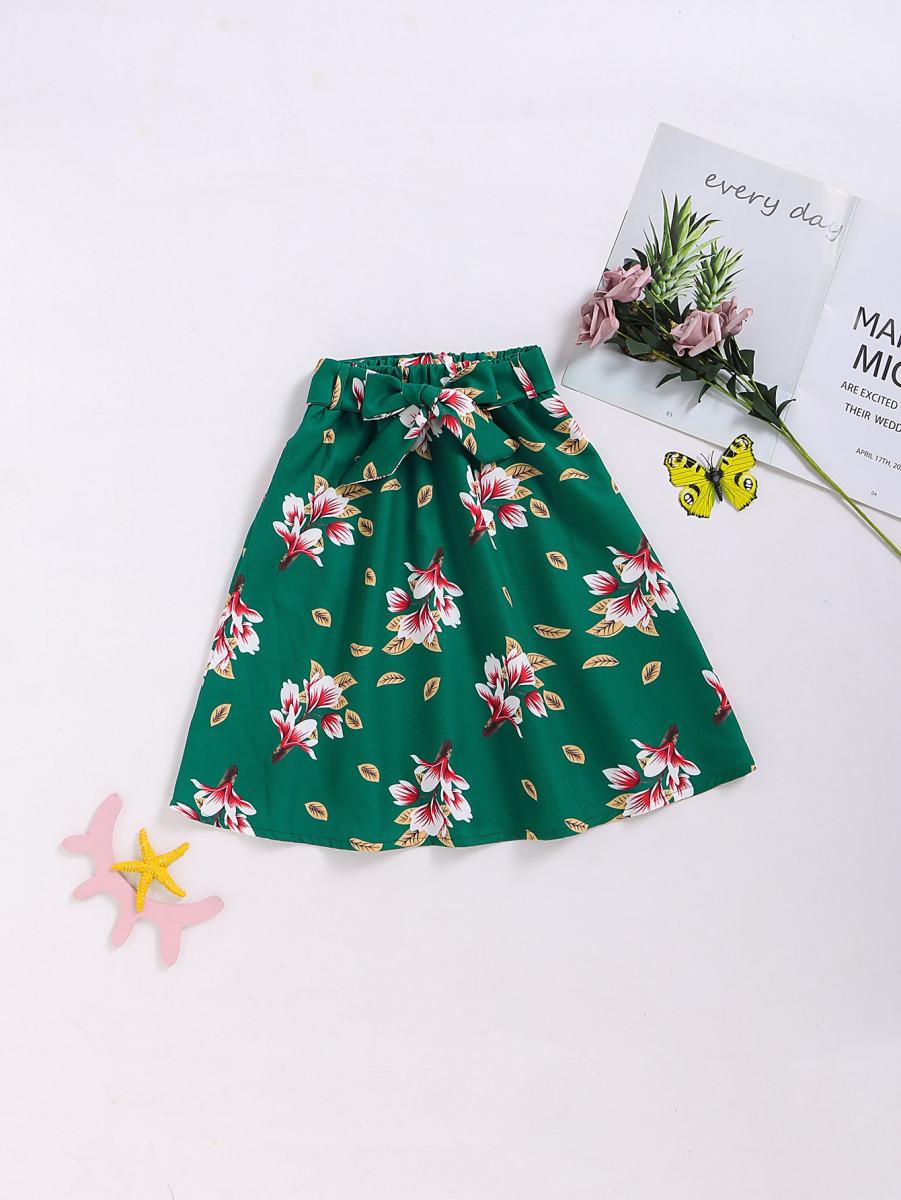 Toddler Girls Large Floral Self Tie Midi Skirt