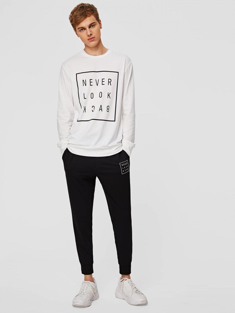 Men Slogan Graphic Pullover & Sweatpants Set