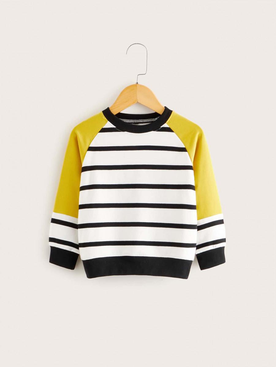 Toddler Boys Color-block Striped Baseball Sweatshirt