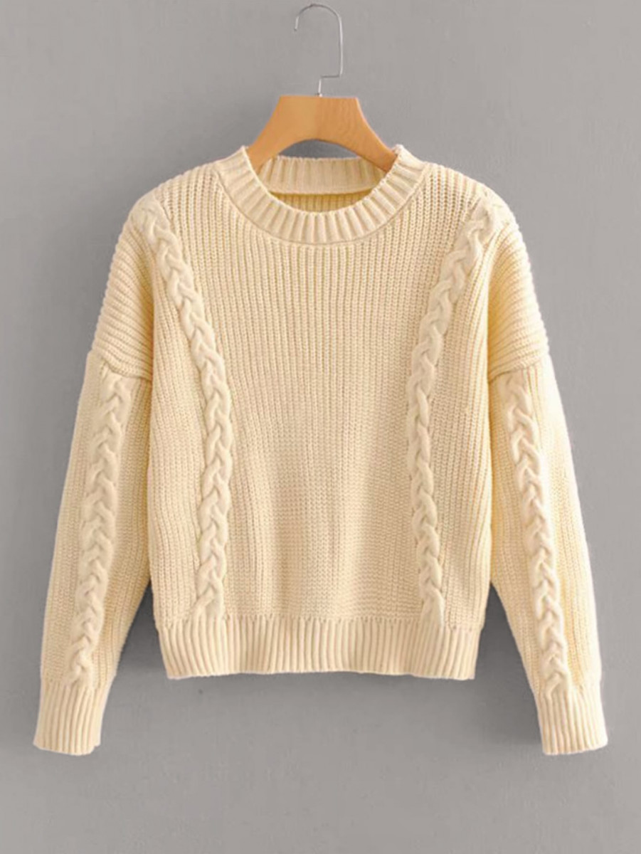 Twist Cable Knit Drop Shoulder Sweater
