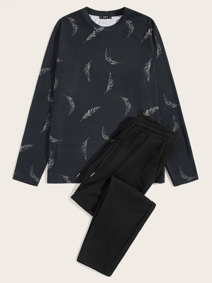 Men Feather Print Tee & Drawstring Sweatpants Set
