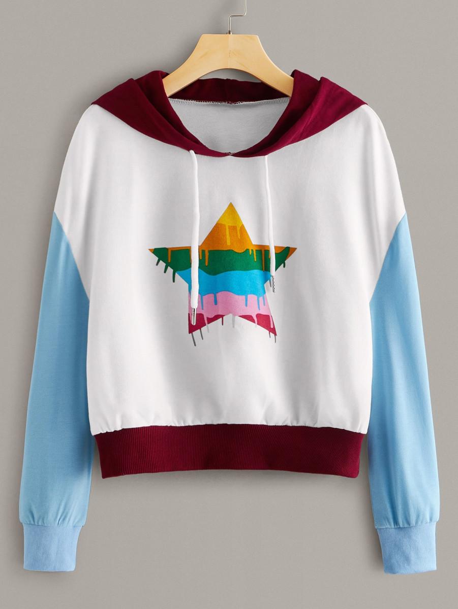 Geo Print Colorblock Drawstring Hooded Sweatshirt