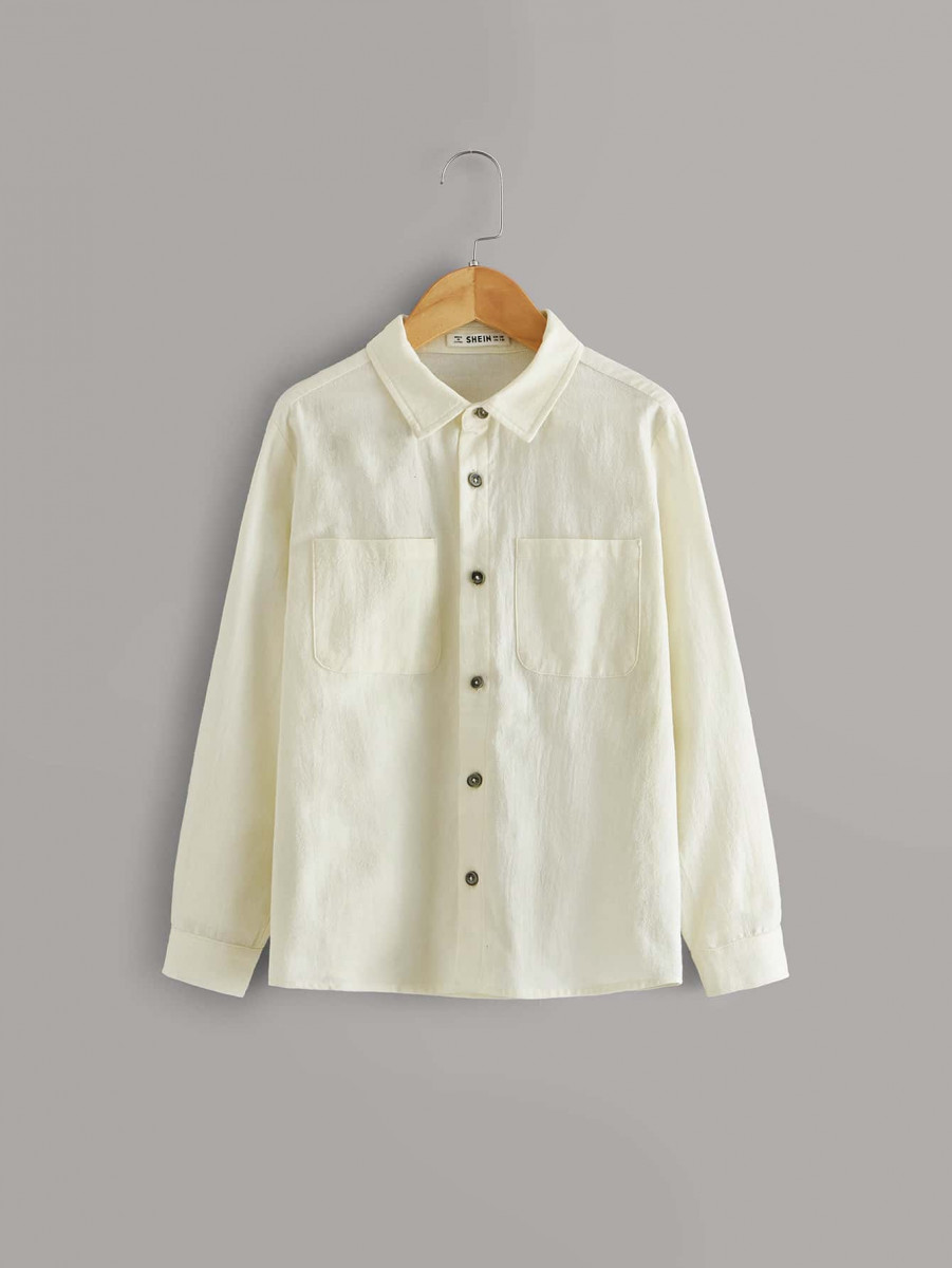 Boys Pocket Patched Roll Tab Sleeve Shirt