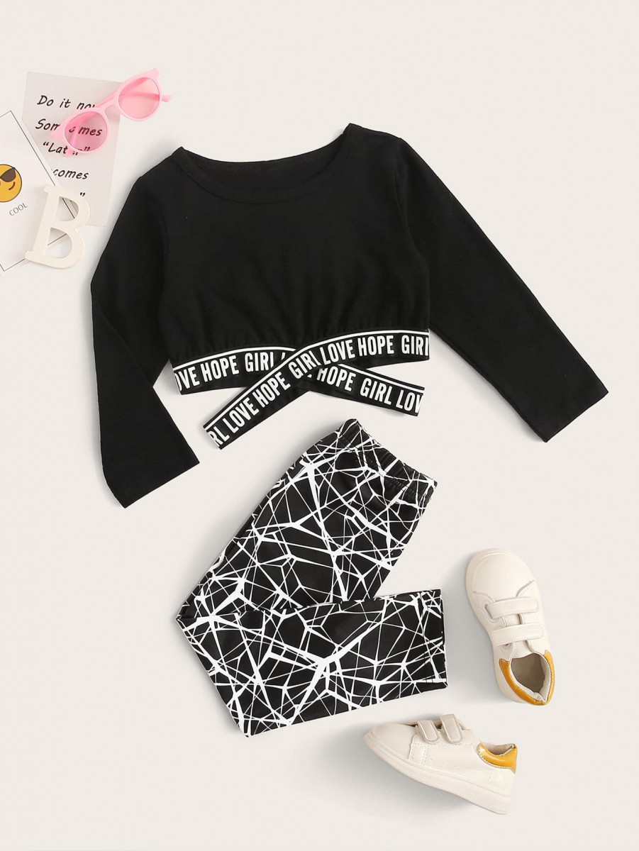 Toddler Girls Letter Tape Crop Tee With Leggings