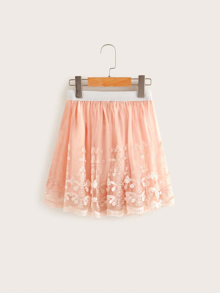 Girls Glitter Waistband Embroidery Mesh Skirt