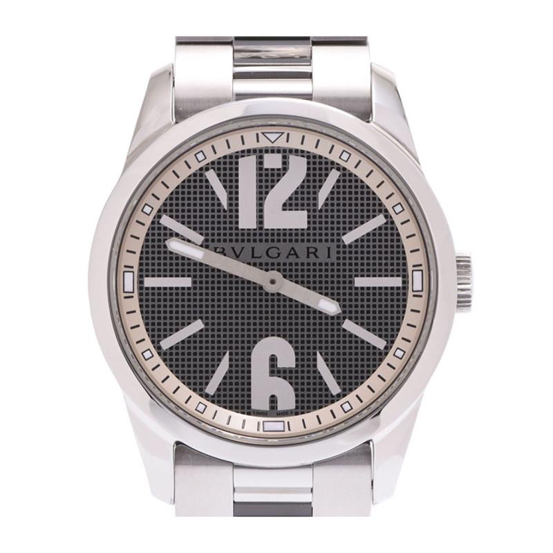 Bvlgari Black/Silver Solo Tempo ST37S Men's Wristwatch 37 MM